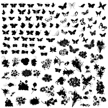 set of silhouettes butterfly and flowers Vector