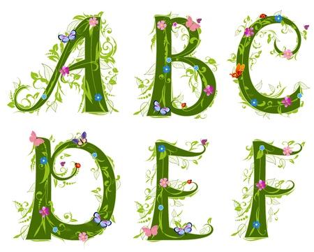 floral alphabet: letter of the foliage Illustration