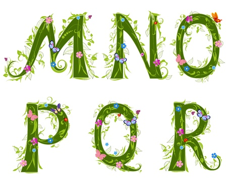 artistic font: letter of the foliage Illustration