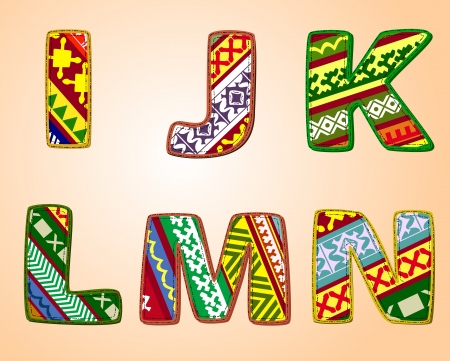 letters of fabric designs Vector