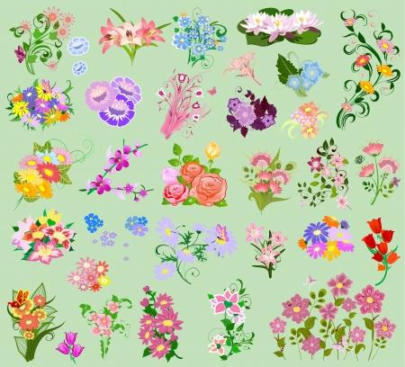 cartoon bouquet: set a festive floral bouquet