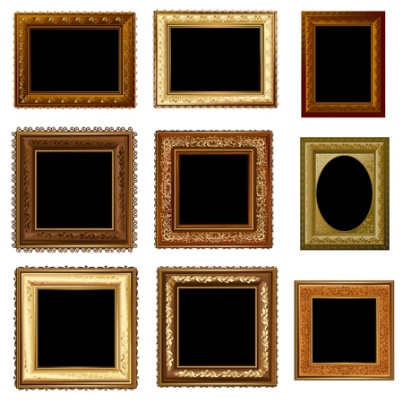 set of retro vintage frame gold Vector