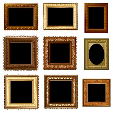set of retro vintage frame gold Vector