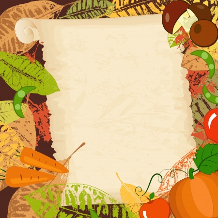 abstract art vegetables: frame with autumn vegetables and leaves Illustration