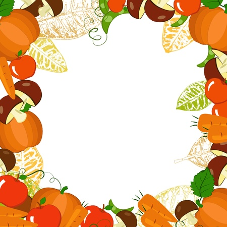frame with autumn vegetables and leaves Vector