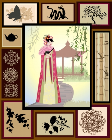 Chinese girl national patterns Stock Vector - 14648354