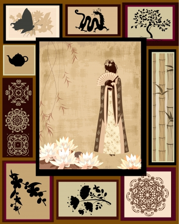 japanese pattern illustration: Chinese girl national patterns