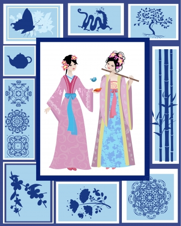Chinese girl national patterns Vector
