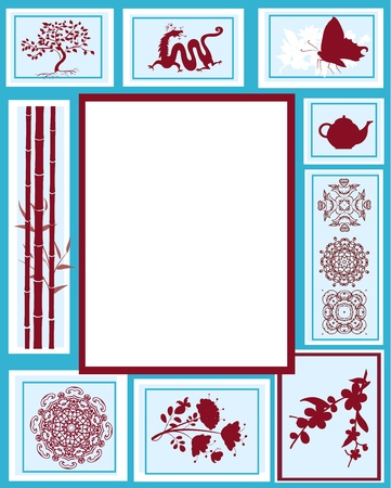 Design of the frame of the Chinese characters Vector
