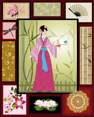 japanese style: Chinese girl national patterns