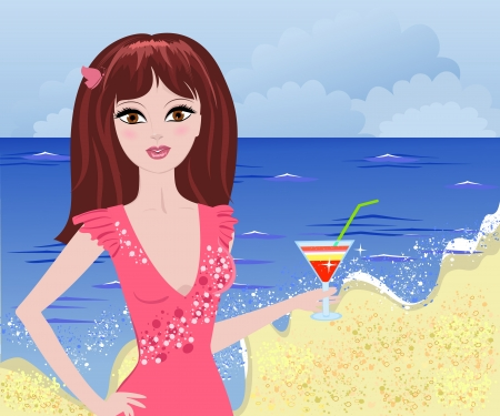 girl beach cocktail Vector