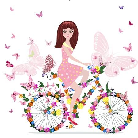 retro bicycle: ni�a de las flores en bicicleta