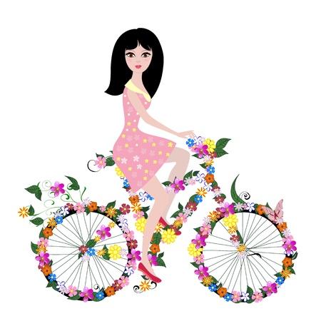 flower girl on bike Ilustrace