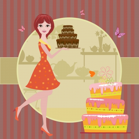 Girl with chocolate cake Vector