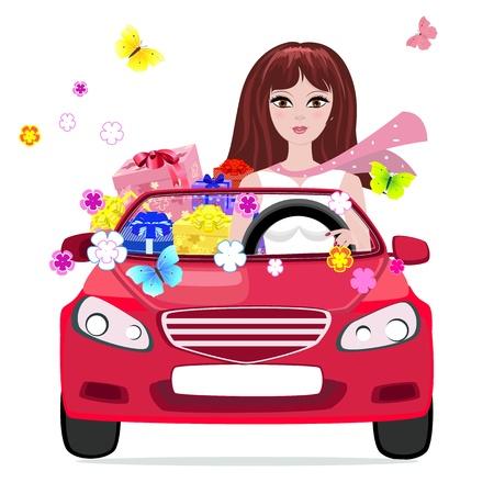 auto illustratie: meisje in een auto met geschenken