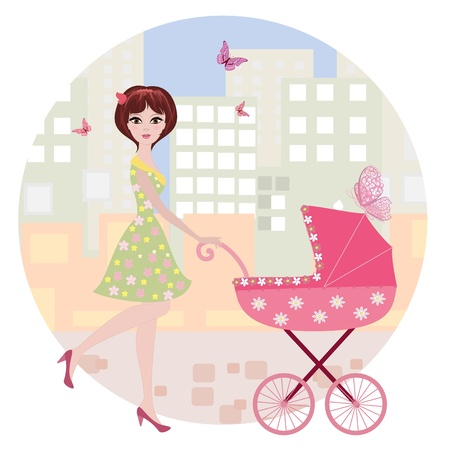 woman with a stroller Stock Vector - 14648389
