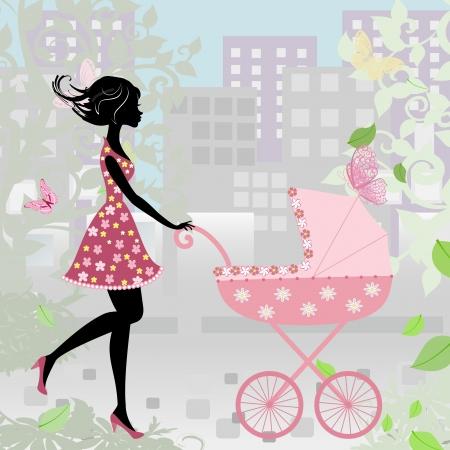 b�b� m�re: femme avec une poussette Illustration