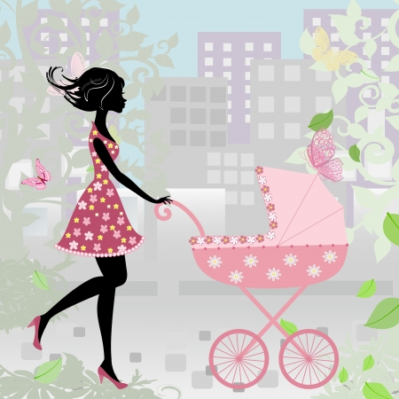 woman with a stroller Illustration