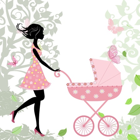 woman with a stroller Stock Vector - 14648395