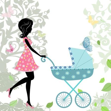 poussette: femme avec une poussette Illustration