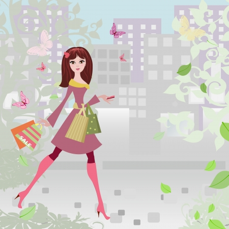 feminine background: Woman strolls the city shopping