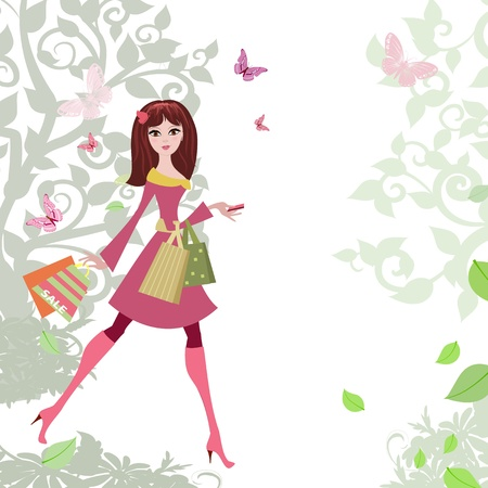 donna farfalla: Donna passeggia dello shopping della citt� Vettoriali