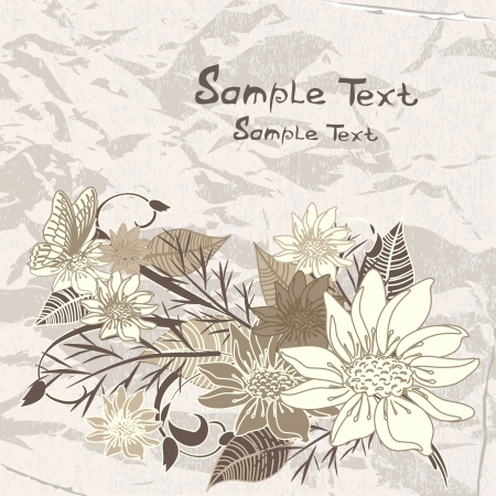 grunge crumpled paper flowers Vector
