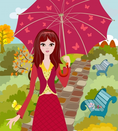 rain cartoon: Girl with umbrella in autumn park Stock Photo