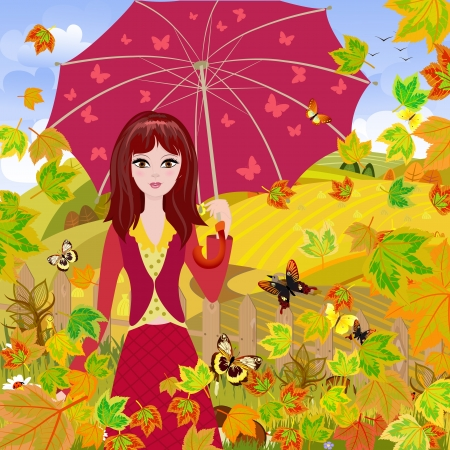Girl with umbrella in autumn park Stock Photo - 15364247