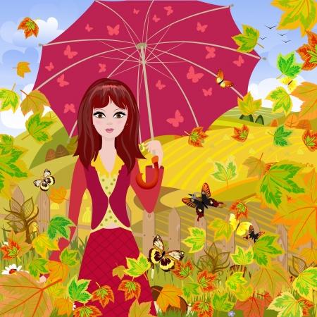 Girl with umbrella in autumn park Stock Photo - 15364247
