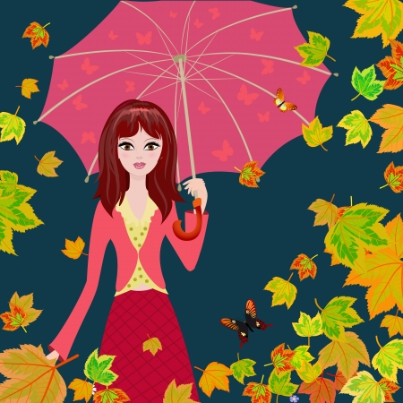 Girl with an umbrella in the autumn falling leaves Stock Photo - 15364246