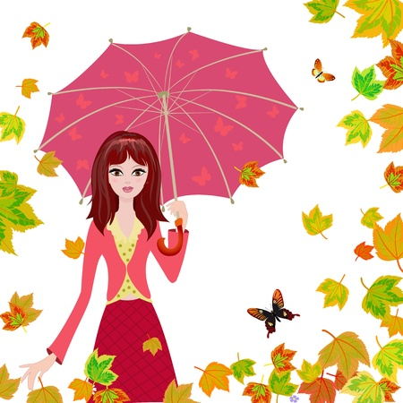 Girl with an umbrella in the autumn falling leaves photo