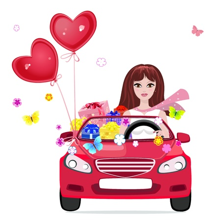 cartoon m�dchen: Gl�ckliches M�dchen mit Geschenken mit dem Auto