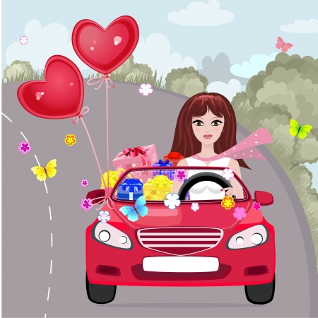 Happy girl with gifts by car Vector