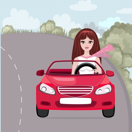 Cute girl rides on car Stock Vector - 15364242