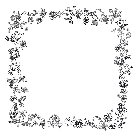 doodle frame elements with flowers and birds photo