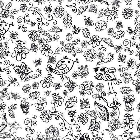 doodle seamless background with birds and flowers photo