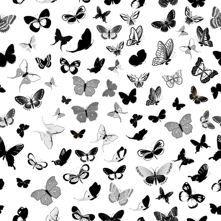 butterfly silhouette: butterfly seamless background Illustration