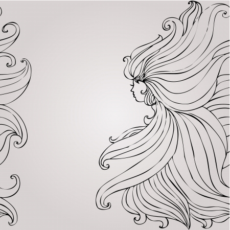Girl with beautiful hair seamless Vector