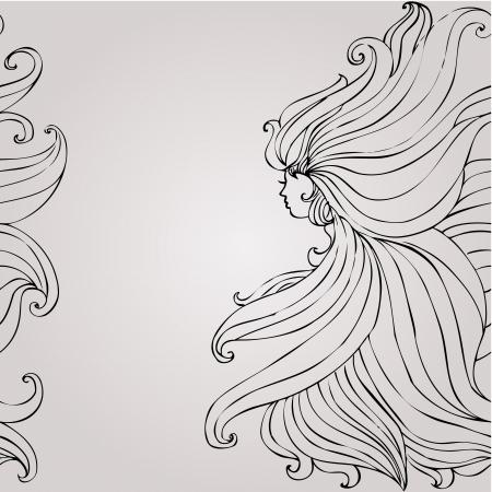 hair style: Girl with beautiful hair seamless