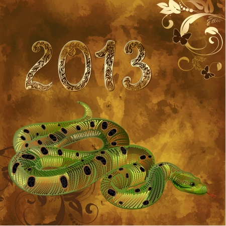 new 2013 vintage gold snake figures Vector