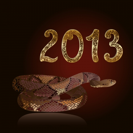 new 2013 vintage gold snake figures Stock Vector - 15649271