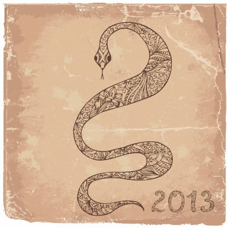 Grunge background with a snake symbol 2013 Stock Vector - 15649310