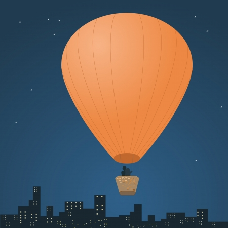 Romantic balloon flight Vector