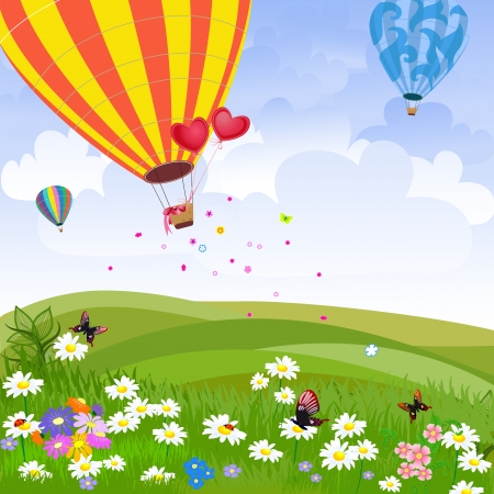 Happy hot air balloon Vector