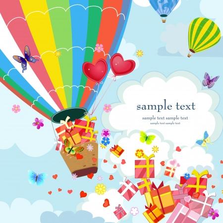 birthday flowers: Gelukkig Hete lucht ballon met giften en liefde Stock Illustratie
