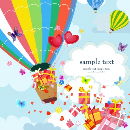 Happy Hot air balloon with gifts and love Vector