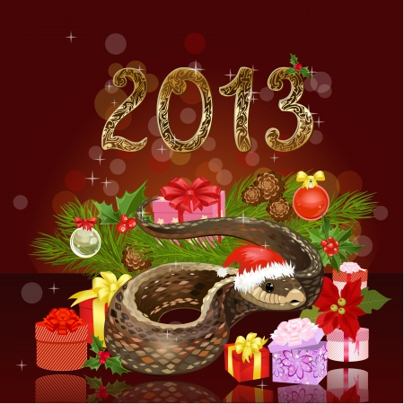 snake year: Festive Christmas card with a snake and gifts