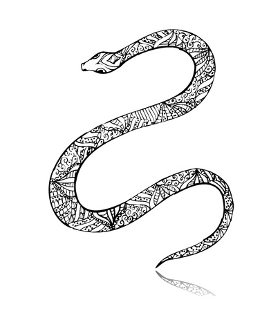 Beautiful vintage art snake Vector