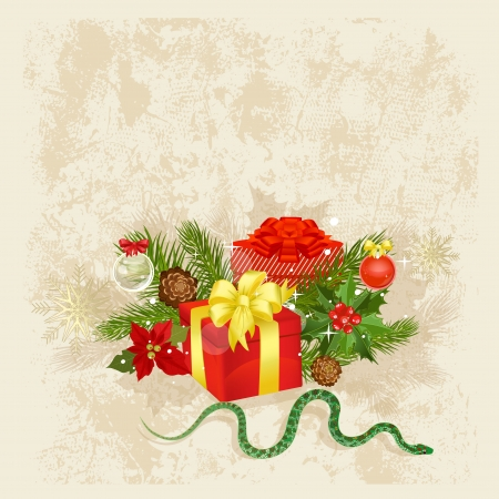 year snake: Retro Christmas card with gifts and a snake